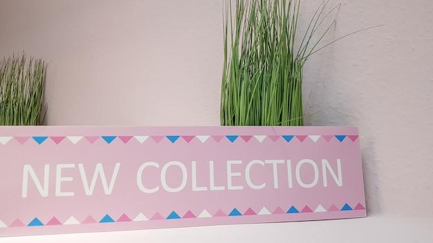 복사 공간이 있는 밝은 벽 배경에 녹색 꽃이 있는 선반에 있는 새로운 분홍색 수집 접시의 클로즈업. 새로운 여성복 컬렉션.