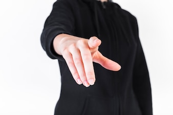 Close-up of a person pointing fingers