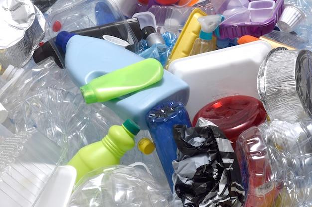 재활용 플라스틱의 클로즈업