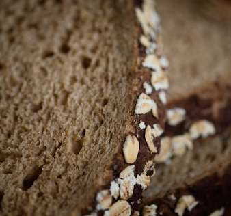 Close up of a slice of brown bread