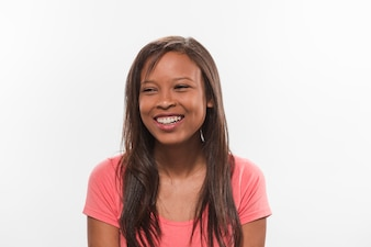 Close-up of a smiling african teenage girl