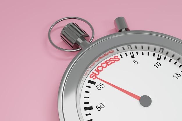 薄いピンクの背景に成功という言葉を指す針を持つストップウォッチの接写