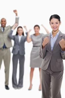성공적인 비즈니스 팀의 클로즈업