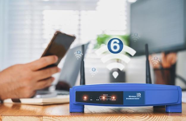 Wifi 6テクノロジーを搭載したワイヤレスルーターのクローズアップ