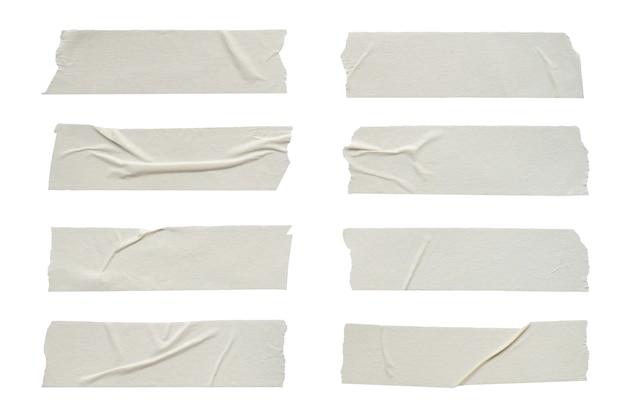 흰색 배경에 설정된 접착 테이프 주름 클로즈업