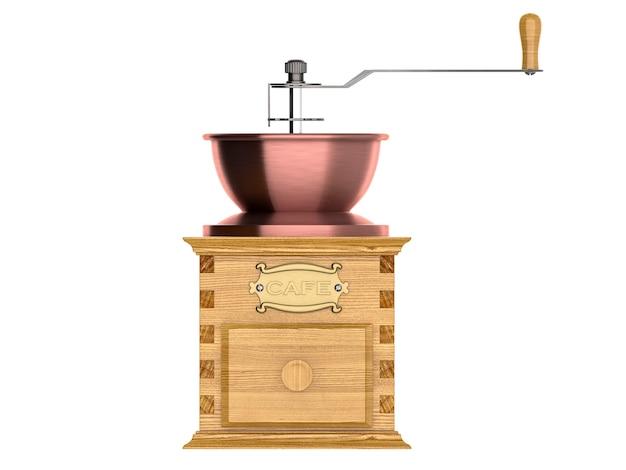 Крупный план старинной кофемолки. 3d визуализация