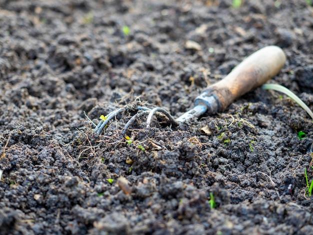 나무 손잡이로 땅을 풀기 위한 오래된 괭이의 클로즈업. 토지 경작을 위한 오래된 도구