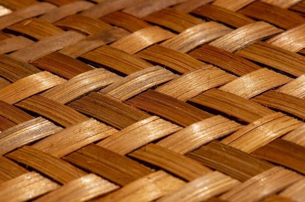 部屋の装飾と部屋の背景のための竹織物工芸品のクローズアップ