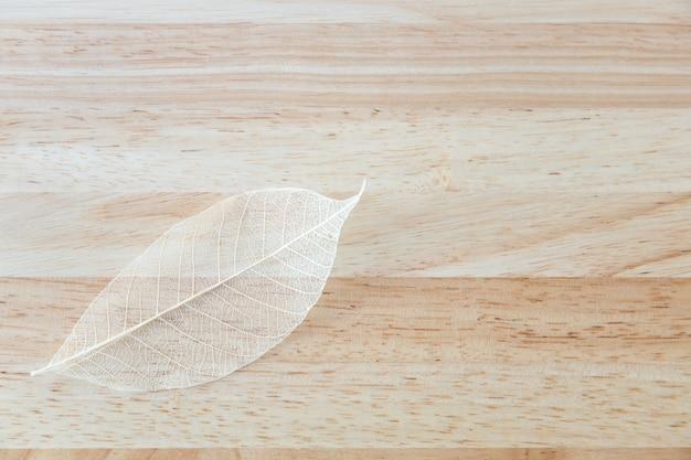 Закройте вверх красивой текстуры лист взгляда природы на деревянном столе с космосом экземпляра используя как заводы предпосылки естественные, концепция обоев экологичности.