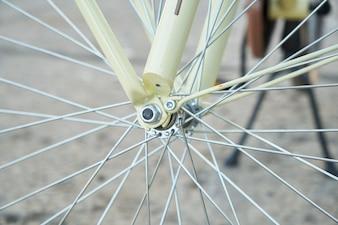 Close-up of bike spokes