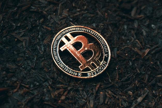 地上のビットコインのクローズアップ、暗号通貨仮想通貨の概念