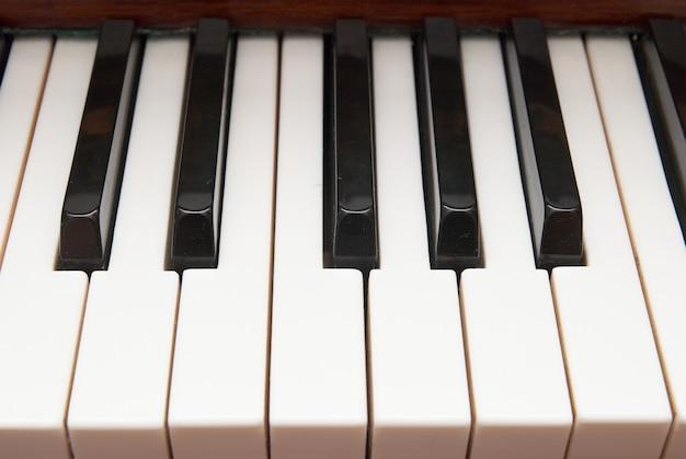 흑인과 백인 피아노 키 닫습니다