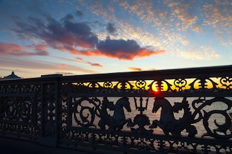 Close up of Blagoveshchensky Bridge in morning