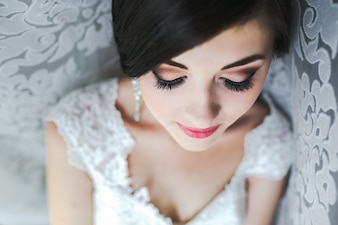 Close-up of bride prepared for her big day