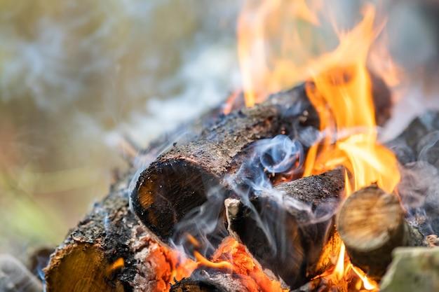 黄色い熱い火の炎で明るく燃えている木の丸太のクローズアップ。