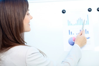 Close-up of businesswoman pointing at graph
