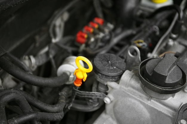 車のエンジンのクローズアップ