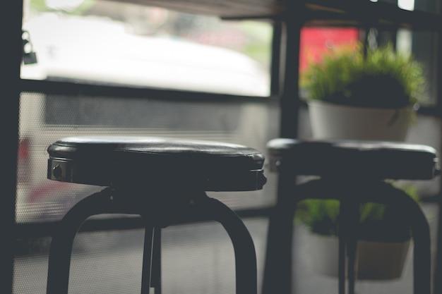 カフェの椅子のクローズアップ