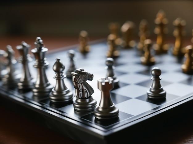 テーブルの上のチェス盤のクローズアップ