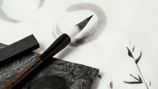 중국 잉크 구성의 클로즈업
