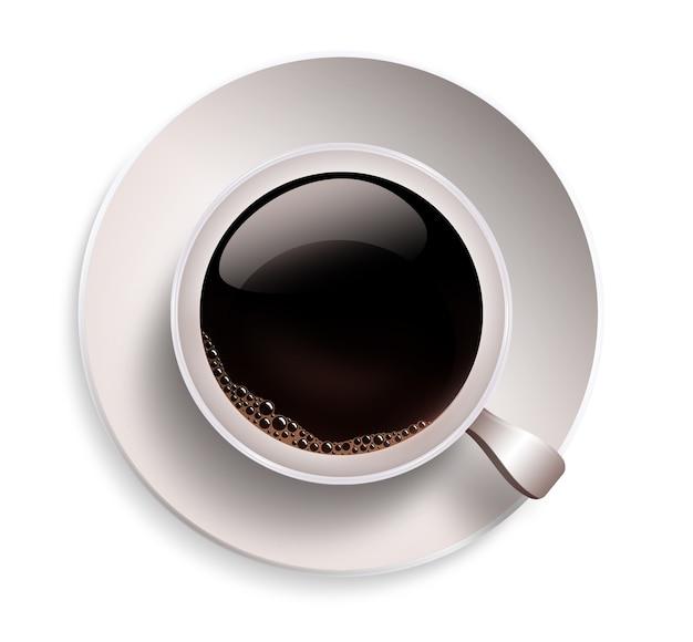 白い背景の上のコーヒーカップのクローズアップ
