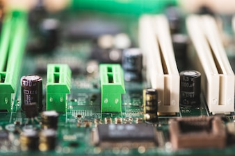 Close-up of computer slot and battery on computer motherboard