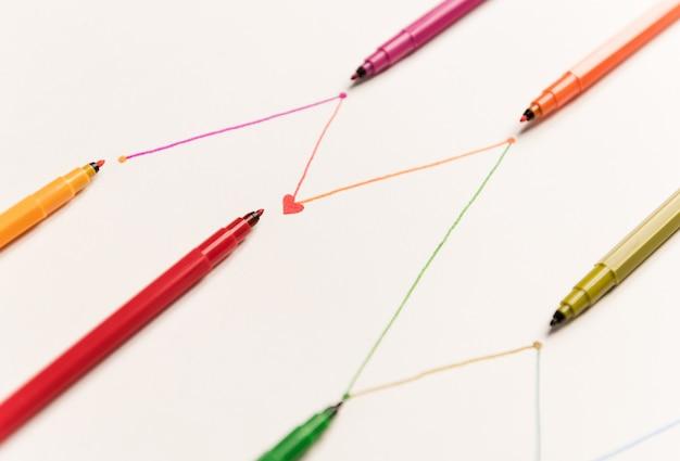 白い紙の上にカラフルなマーカーで描かれた接続線のクローズアップ。チャート、シェドゥルの線