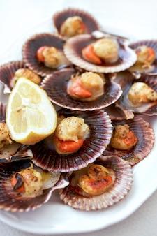 Крупный план приготовленных морских гребешков на белой тарелке.