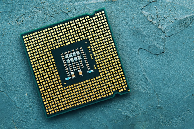 Cpu 칩 컴퓨터 프로세서의 클로즈업. 평면도