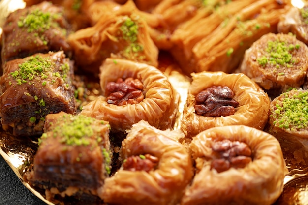 호텔 뷔페에서 맛있는 바클라바 클로즈업