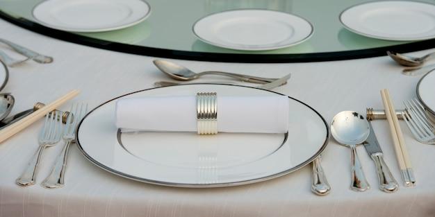 ダイニングテーブルの場所の設定、昌平区、北京、中国のクローズアップ