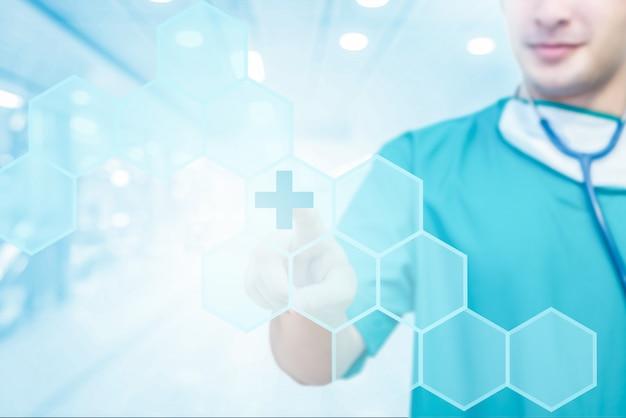 デジタル薬のビジュアル画面のインターフェイス上のアイコンに触れる医師のクローズアップ