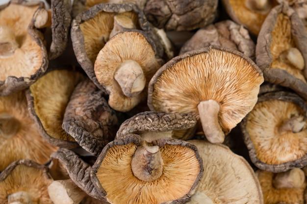 Крупным планом сушеных грибов шиитаке на деревянном фоне
