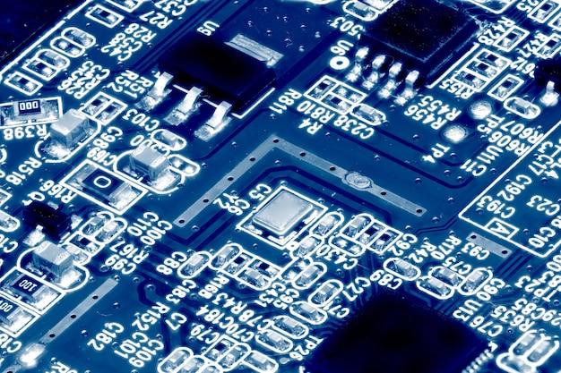 전자 회로 기판의 클로즈업입니다. 매크로 .