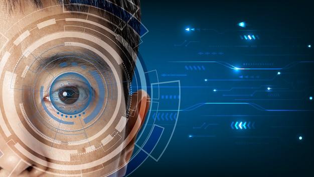 기술 디지털 정보를 스캔하는 과정에서 눈을 감습니다.