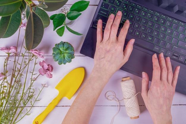 여성 성인 손 클로즈업 노트북 키보드에 입력합니다.