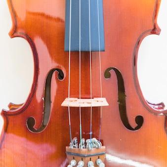 바이올린의 미세 조정 문자열 조절기의 클로즈업