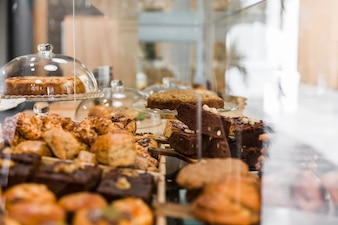 Close-up of fresh baked food in bakery