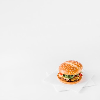 Close-up of fresh burger on tissue paper over white backdrop