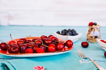 Close-up of fresh red cherries on plate