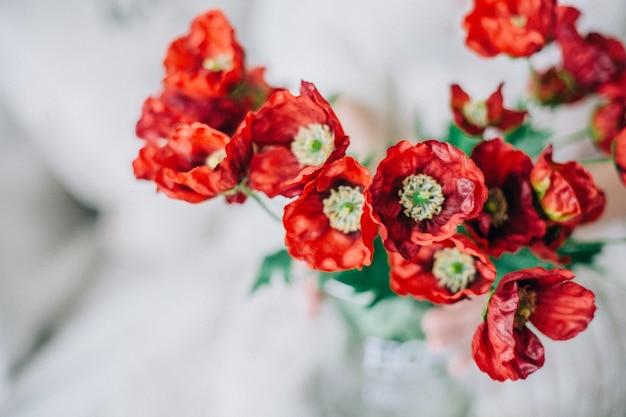 新鮮な赤いポピーの花のクローズアップ