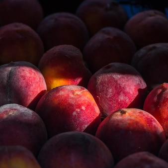 Close-up of fresh whole ripe peaches