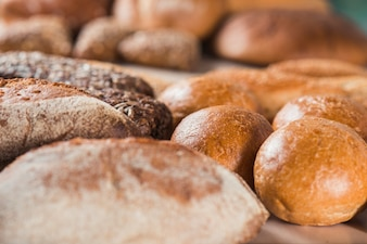 Close-up of freshly baked breads