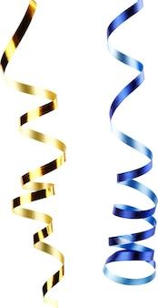 白い背景の上の金と青のリボンのクローズアップ