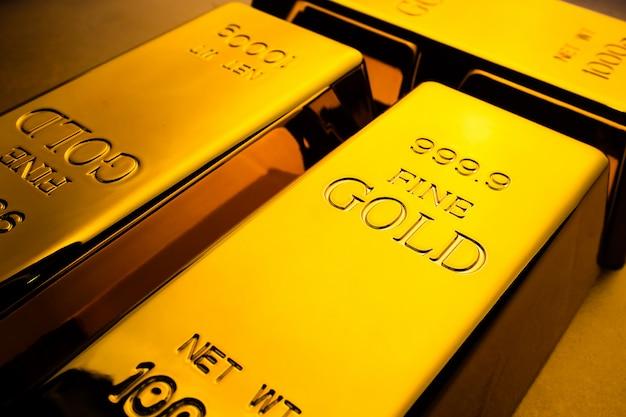 Крупным планом золотых слитков. финансовая концепция