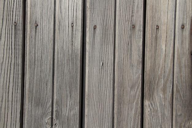 灰色の木製柵パネルのクローズアップ。古いボードの背景