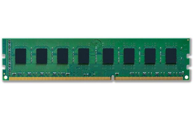녹색 컴퓨터 메모리 모듈의 클로즈업