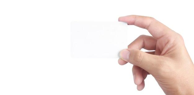가상 카드를 들고 손 클로즈업. 고립 된 손에 신용 카드