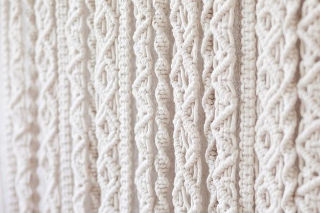 Крупный план ручной работы образца текстуры макраме.