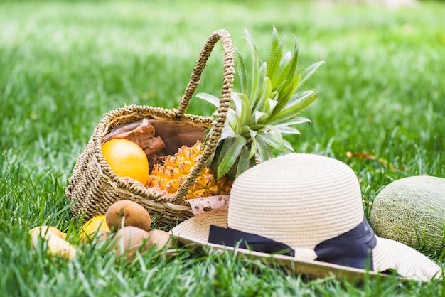 잔디에 고리 버들 세공 바구니에 모자와 과일의 클로즈업